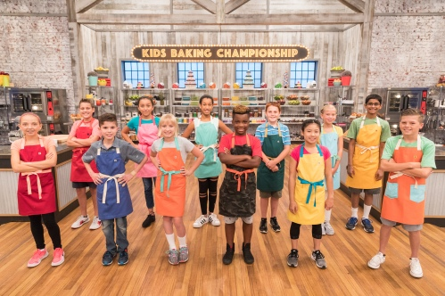 The contestants pose for a photo in the main heat challenge, as seen on Food Network's Kids Baking Championship Season 4